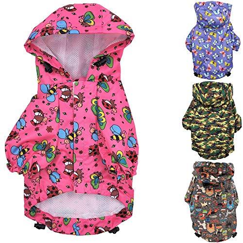 for Small Pet Cat Dog Raincoat Hoodie Coat Waterproof Rain Jacket Rainwear (S: Length - 12', Pink)