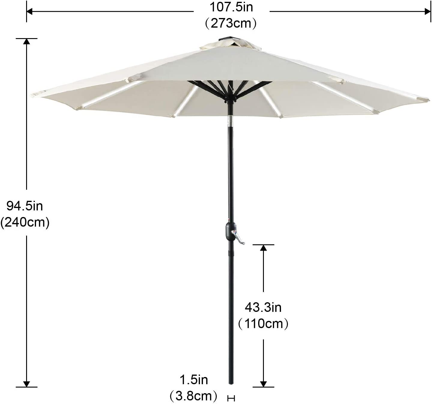 Deck Backyard and Pool Light Beige Push-Button Tilt and Crank for Garden ABCCANOPY 9FT Patio Umbrella Solar Powered Outdoor Umbrella Market Umbrella with 8LED Lights Bars