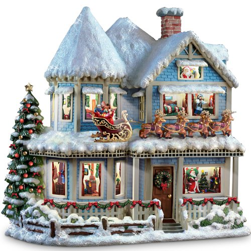 Thomas Kinkade 'Twas The Night Before Christmas Collectible Story House by The Bradford Exchange