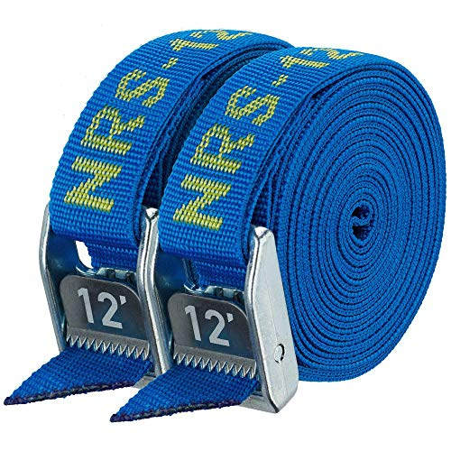 """NRS 1"""" Heavy Duty Tie Down Strap 2 Pack-IconicBlue-9ft"""