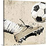 Vintage Soccer Strike Canvas Wall Art Print, Soccer Artwork