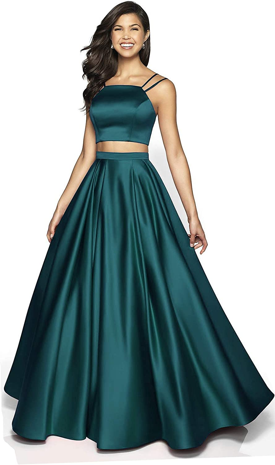 Liangjinsmkj Womens Sexy 2 Piece Prom Dresses Long Formal Evening Ball Gowns with Pockets