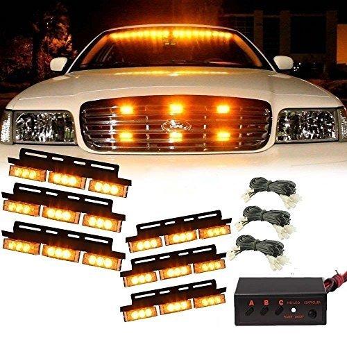 Luces LED 54 KATUR de color amarillo para vehículo, luz estroboscópica de emergencia, flash, luz de coche y de camión LED, luces de advertencia para rejilla delantera/cubierta