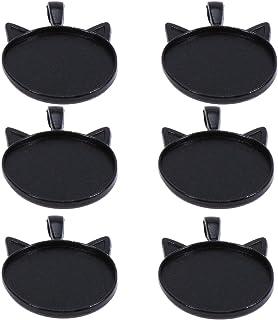 SUPVOX Cabochon Base Forma Gatto Vetro Ciondoli Pendenti portafoto per Gioielli Fai da Te 10 Pezzi Nero