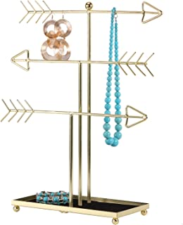 SIMMER STONE Jewelry Stand, 3 Tier Arrow Jewelry Organizer with Soft Ring Tray, Decorative Jewelry Holder Display Rack for Necklaces, Earrings and Bracelets, Gold