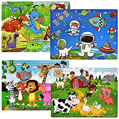 Wooden Jigsaw Puzzles for Kids Ages 3-8 Year Old, [60 Piece] 4 Theme Colorful Wooden Puzzles for Toddler Children Learning Educational Puzzles Toys for Boys and Girls