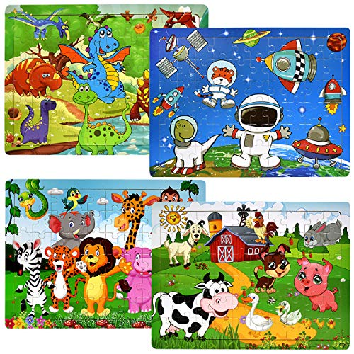 Wooden Jigsaw Puzzles for Kids Ages 4-8, [60 Piece] 4 Theme Colorful Wooden Puzzles for Toddler Children Learning Educational Puzzles Toys for Boys and Girls