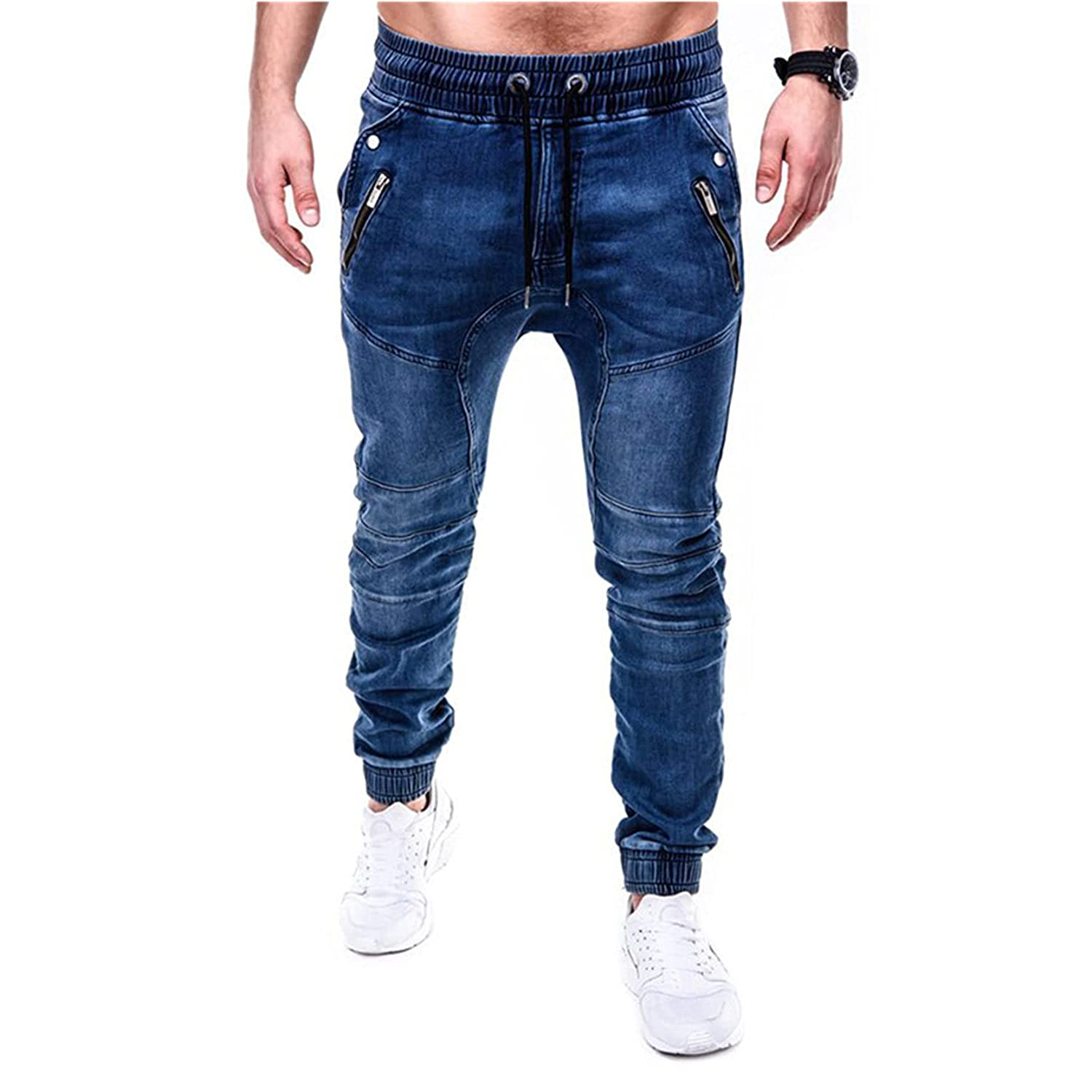 Men's Max 70% OFF Fashion Slim Fit Jogger Elastic Waistband Den Jeans At the price Casual