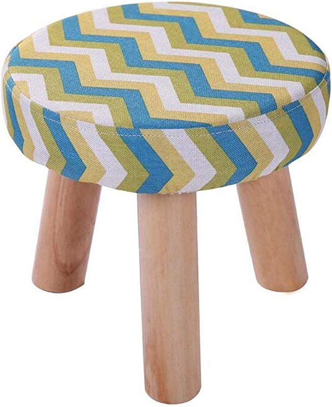 Carl Artbay Wooden Footstool Yellow Green Stripes Three Legged Stool Round Cotton Linen Cloth Shoe Shoes Washable Household Home