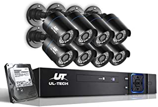 UL-TECH 8pcs Bullet Camera,1080p HD 8C Security IP Camera System with 20m Night Vision,Powerful 5-In-1 DVR,IP66 All-weathe...