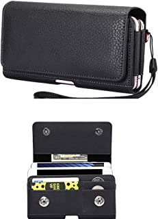 Cell Phone Dual Case Pouch Horizontal Double Decker Belt Clip Loop Holster Holder w Card Slot for Samsung Galaxy S10, S9, S8, LG G7 ThinQ, Motorola Moto g6, Google Pixel 3a, Alcatel 5, HTC U11+