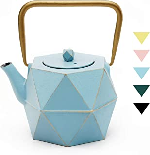 Tea Kettle, TOPTIER Japanese Cast Iron Tea Kettle with Infuser, Stovetop Safe Cast Iron Tea Kettle, Diamond Design Cast Iron Teapot Coated with Enameled Interior for 30 oz (900 ml), Blue