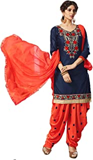 f608c56b86 Saiyaara Fashion Women's Cotton Silk Embroidery Salwar Suit Dupatta Unstitched  Salwar Suit Material (Navy Blue