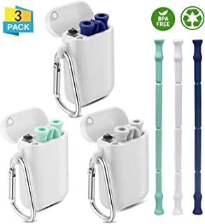 3 Pack Collapsible Silicone Reusable Straws,Food-Grade long Straw,Portable Folding Drinking Straw with Case and Cleaning Brush (Gray, Blue, Green)