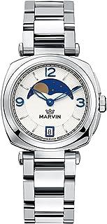 Marvin Swiss Quartz Womens Moon Phase Watch Waterproof Simple Stainless Steel Watch