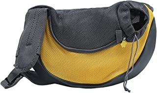 Lightweight Small Dog Cat Crossbody Shoulder Bag with Safety Ring, Portable Outdoor Pet Handbag, Hold Up to 12 Pounds, for Travel, Hiking (Color : Yellow)