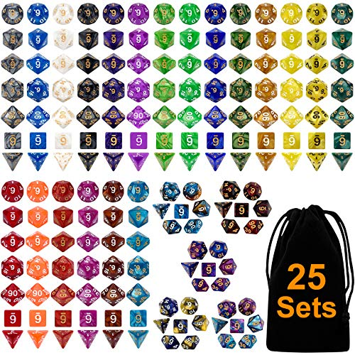 DND Dice Set 25 x 7 (175 Pieces) Double-Colors Polyhedron Dice for Dungeons and Dragons DND RPG MTG Table Games D4 D6 D8 D10 D% D12 D20 25 Colors Dice with 1 Large Flannel Bag