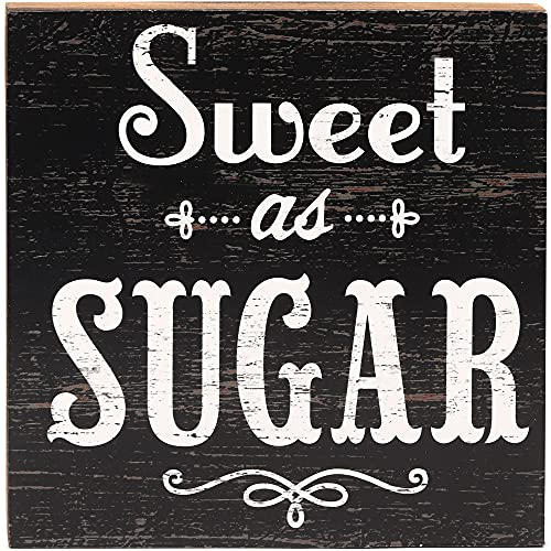 Open Road Brands Sweet As Sugar Wood Block Decor for Kitchen or Coffee Bar - Cute Box Sign to Hang or Display on Counter or Shelf