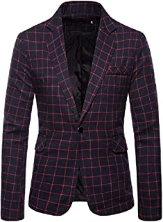 neveraway Men's Plaid Slim Fit One Button Fit Notch Collar Sport Coat Jacket Blazer