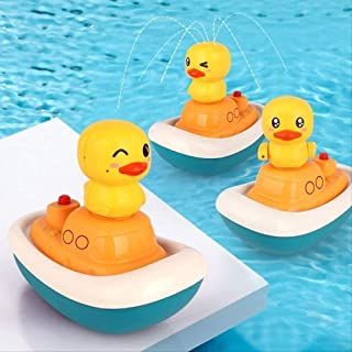 Zpong Electric Water Spray 3 Sprinklers Cute Duck Bath Toys Water Spray Baby Shower Bath Children Toys Play Water Toys 15X...