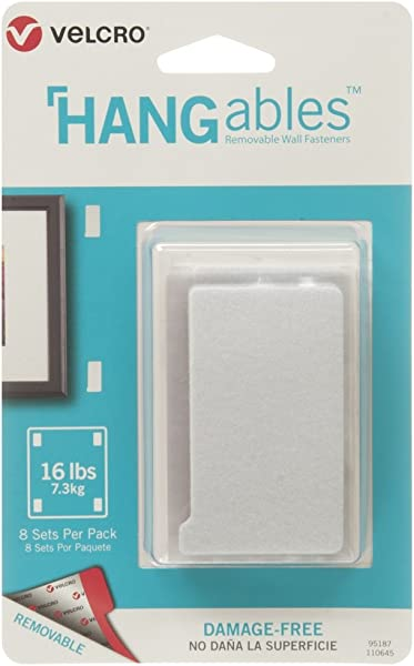 VELCRO Brand HANGables Removable Wall Fasteners Decorate Without Damaging Your Walls Hang Frames Create Wall Collages 8 Sets Per Pack Large Strips