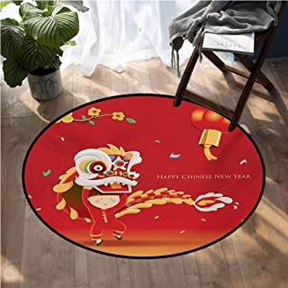 Chinese New Year Rugs for Sale Little Boy Performing Lion Dance with The Costume Flowering Branch Lantern Anti Slip House Kitchen Door Area Rug D54 Inch