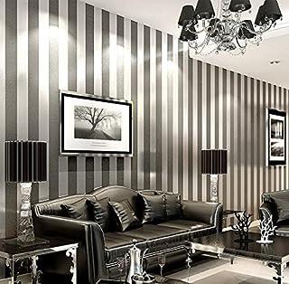 LXPAGTZ Papel pintado no tejido moderno simple dormitorio salón blanco y negro rayas verticales azul Mediterráneo Oriental pared papel pintado largo 9.5 m * ancho 0.53m (² de 5 m) , 11086