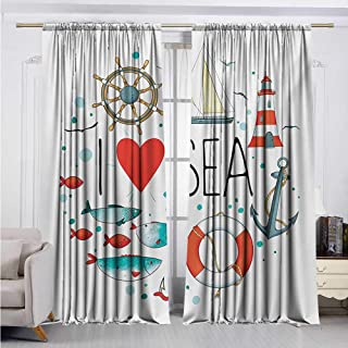 DESPKON-HOME DIY Curtain for Living Room,Nautical I Love Sea Quote with Heart Figure Sea Materials Anchor Compass Knotted Rope Darkening Darkening Curtains (84W x 72L inch,White Red Blue)
