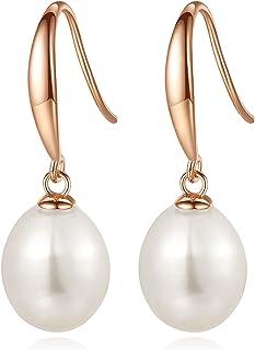 Joyfulshine Freshwater Cultured Pearl Earrings 14K Gold Dangle Drop Earrings for Women