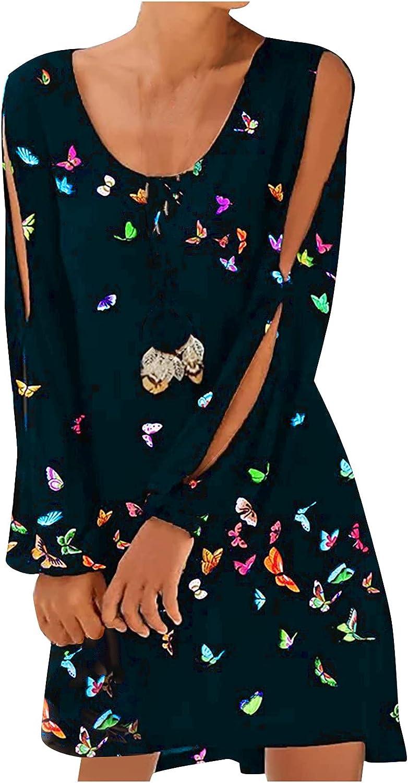 Womens Summer Dresses Off Shoulder Cutout Long Sleeved Butterfly Print Loose Sundress Short Casual T-Shirt Dress