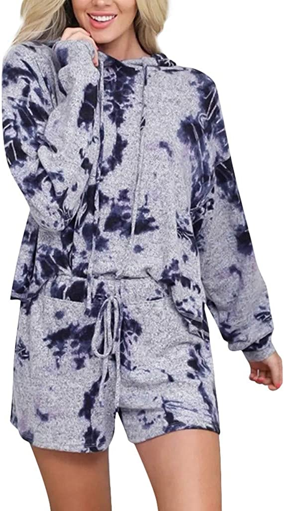 Pajama Set for Women,Women's Tie Dye Loungewear Long Sleeve Tops Hoodies and Shorts 2 Piece Pajama Set Sleepwear