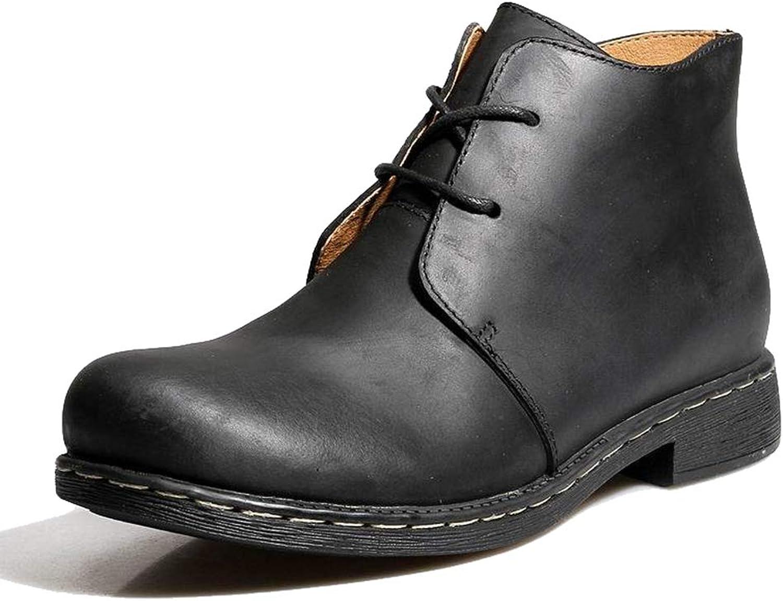Phil Betty Mens Martin Boots Autumn Winter Warm Non-Slip Round Toe Lace-Up Cotton Boots