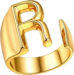 FindChic Customizable Initial Ring Statement 18K Gold Plated Fashion Cuff Rings for Women Alphabet Letter A to Z Resizable...