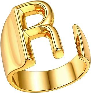 خواتم أسورة أنيقة مطلية بالذهب 18 قيراط للسيدات الأبجدية حرف A إلى Z قابلة للتعديل (مع صندوق هدايا) من فايندشيك