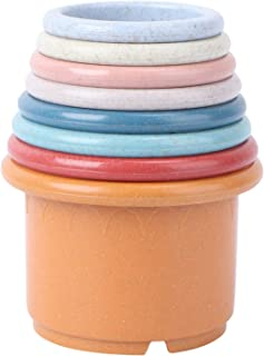 TOYANDONA 8pcs Stacking Cup Bath Toys Colorful Bathtub Nesting Cups Baby Shower Colorul Stack Up Cup Game Toddler Bathing ...