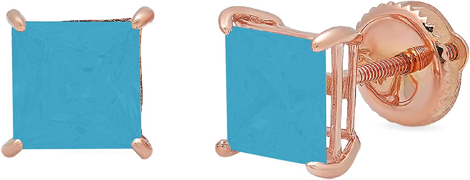 Clara Pucci 3.0 ct Brilliant Princess Cut Solitaire VVS1 Flawless Simulated Turquoise Gemstone Pair of Stud Earrings Solid 18K Rose Gold Screw Back