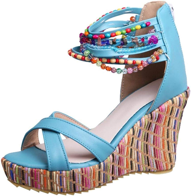 Ghapwe Women's Bohemia Style Wedge Platform Beaded Zipper Sandals Beige 8.5 M US