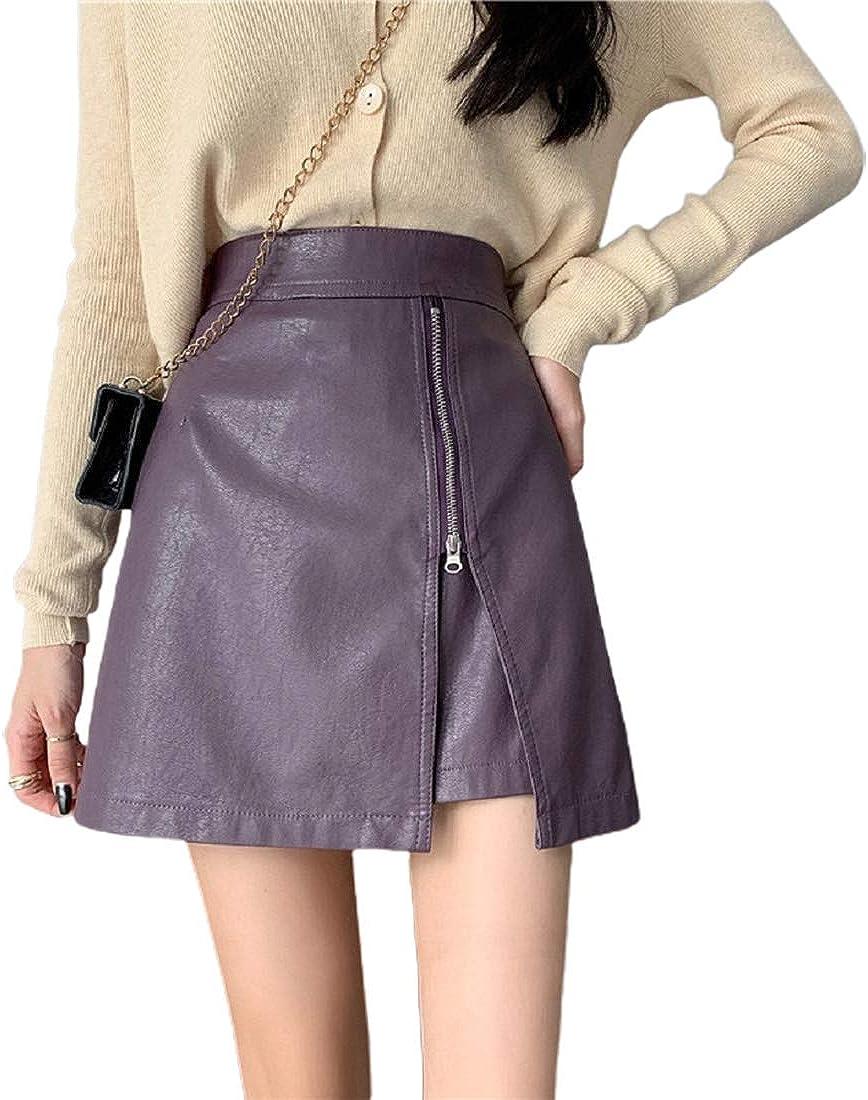 CHARTOU Women's Casual High Waist Faux Leather Split A Line Mini Skirts