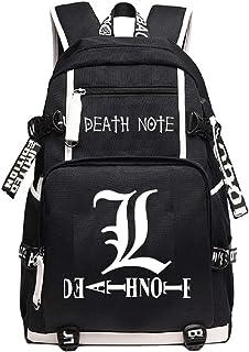 Mochila de anime Death Note para cosplay con puerto de carga USB