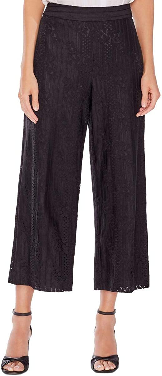 Vince Camuto Womens Lace Cropped Casual Wide Leg Pants, Black, 14