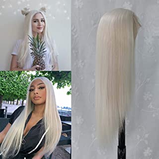 Fdsweetzj White Glueless Lace Front Wigs & Heat Resistant Fiber Synthetic Hair. Real Natural Long Straight White Wigs for ...