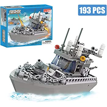 Amazon Com Army Toys Battleship Building Blocks Coast Guard Warship With Solid Hull And Deck Building Set Fun Preschool Educational Toys For Boys And Girls 6 12 193 Pcs Toys Games