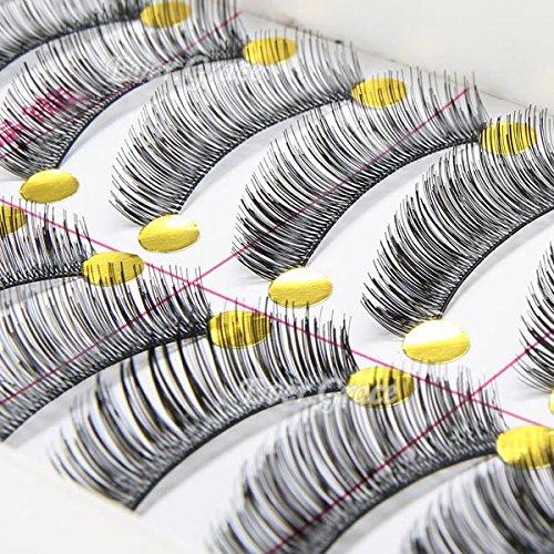 10 paires de noir long et épais main Faux Cils Cils yeux