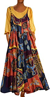 TUSANG Women Skirt Plus Size Bohemian O-Neck Floral Print Vintage Sleeveless Long Maxi Dress Slim Fit Comfy Dress