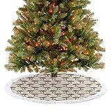 Faldas para árbol de Navidad, estilo vintage, dibujadas a mano, champiñones que caen hojas sabrosas, veganas, alimentos para Año Nuevo, fiesta, hogar, color verde, coral, crema 92 cm