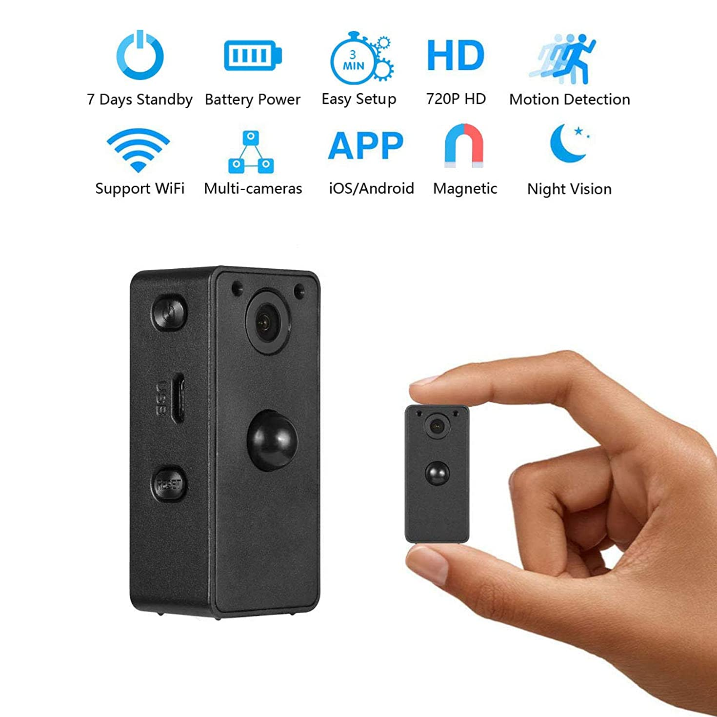 Hidden Spy Camera Wake Up by APP – Wireless Mini Camera Ideal for Multiple Covert Applications, Nanny Cam– WiFi Camera P.I.R Motion Detection iOS&Android Devices– Night Vision & 7 Days Standby Time