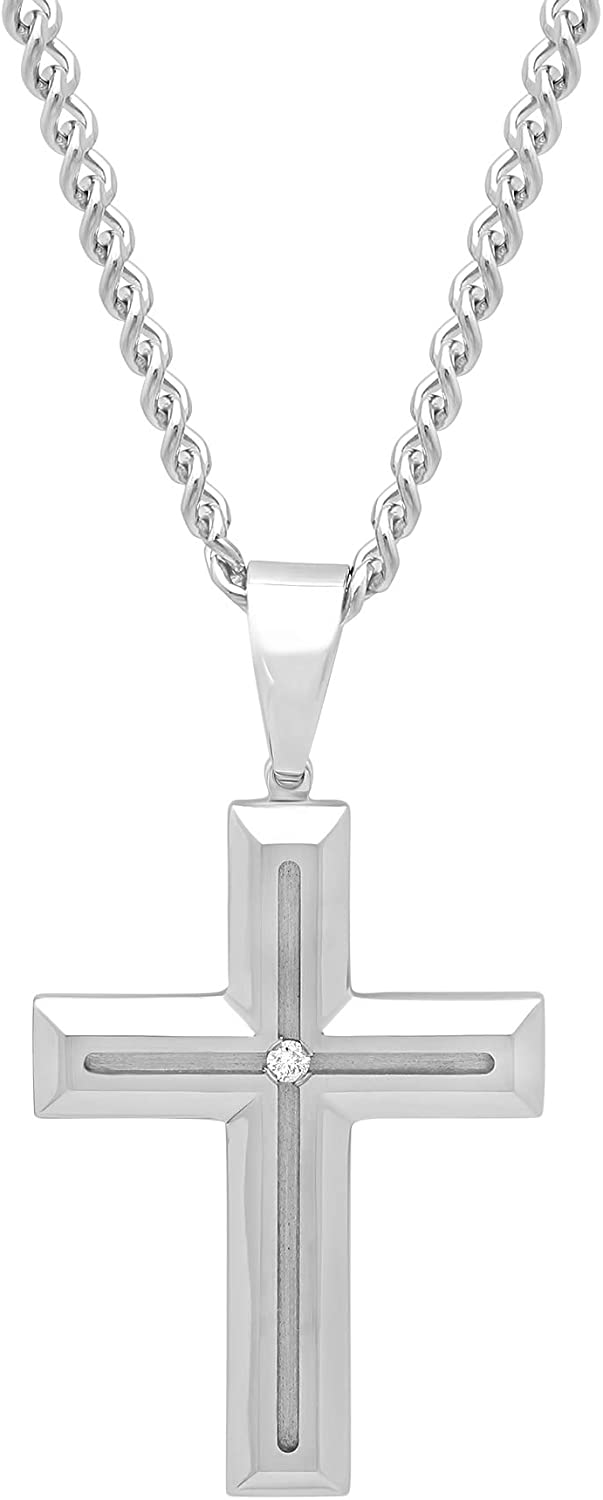 Jewelry Nation Men's 0.03 Ctw Stainless Steel Grooved Cross Pendant Necklace, 24