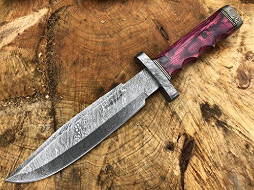 Perkin Knives Damasco Cuchillo de caza de acero hecho a mano Cuchillo de hoja fija - AR601, Red wood handle and damascus guard