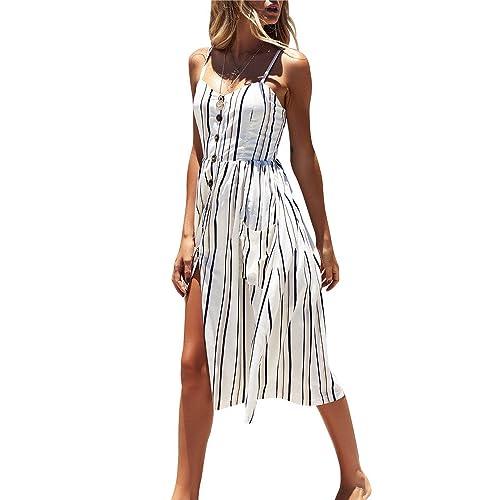 5a3c425e06f Miss Floral Women s Bardot Button Through A-Line Midi Strappy Dress 23  Style Size 6