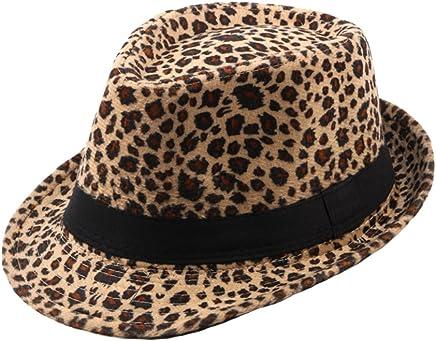 8fa7be25357 Felt Trilby Hat Men Women Autumn Winter Leopard Fedora Jazz Hats Multicolor